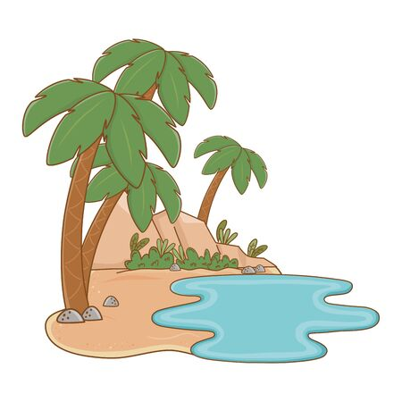 landscape oasis on sand with palms and rocks summer and travel vector illustration editable design