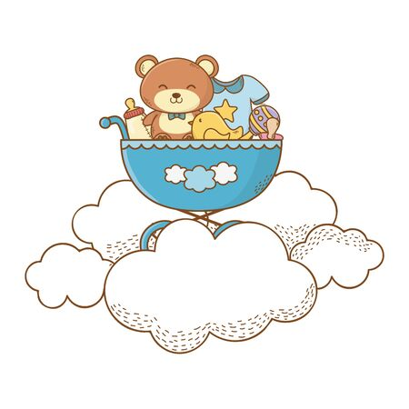 baby shower pram with teddy, bottle, bodysuit, bird, maraca and pacifier on clounds and cartoon card isolated vector illustration graphic design
