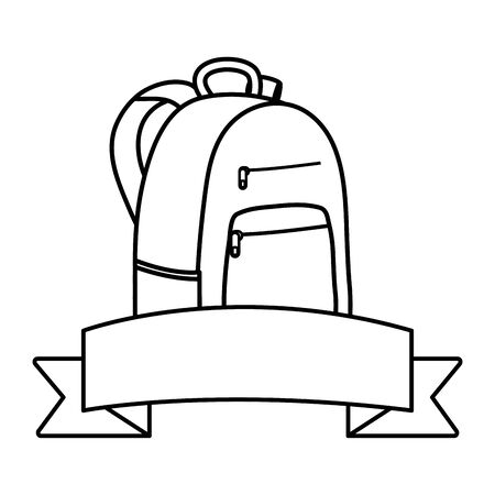 schoolbag with ribbon frame icon