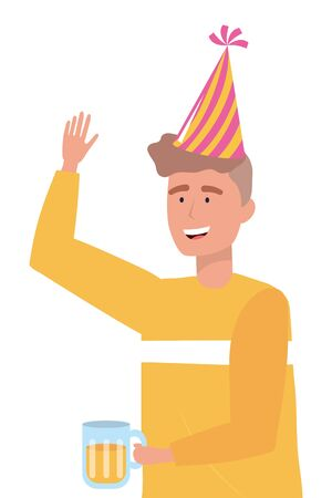 Man cartoon with party hat design