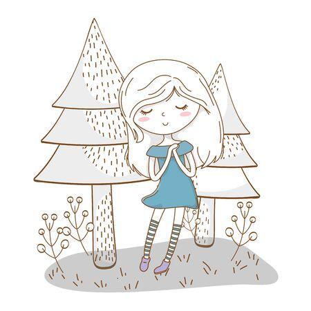 かわいい女の子の漫画スタイリッシュな衣装ドレスの自然の木の背景  イラスト・ベクター素材