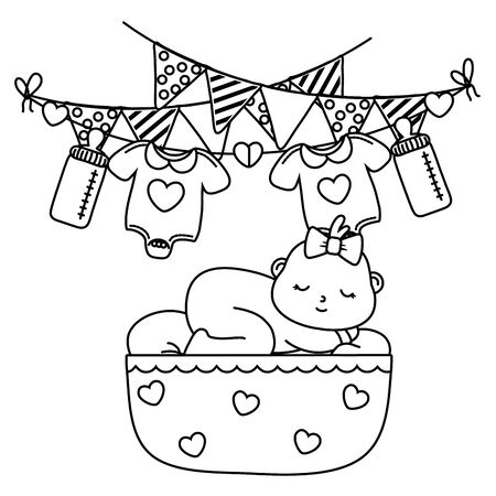 baby sleeping in a cradle in black and white Ilustrace