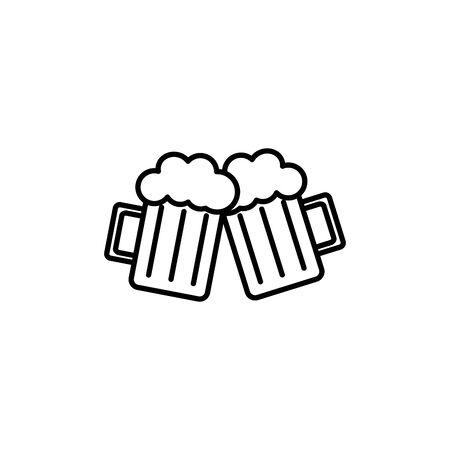 beer glasses drink summer icon line Stock Illustratie