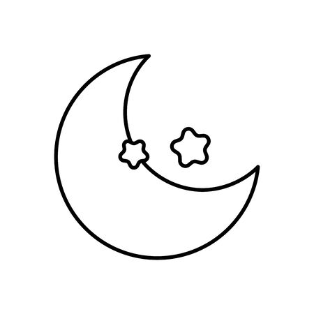 half moon and stars decoration thick line