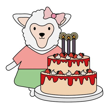 cute sheep with sweet cake in birthday party