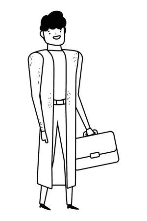 Businessman with suitcase vector design