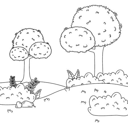 Trees in forest design, Green environment nature landscape and foliage theme Vector illustration Illustration