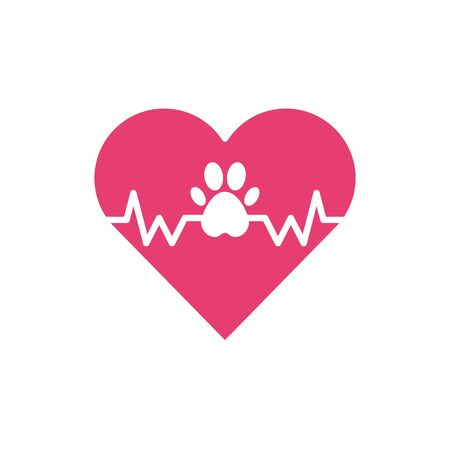 Isolated pet heart icon flat vector design