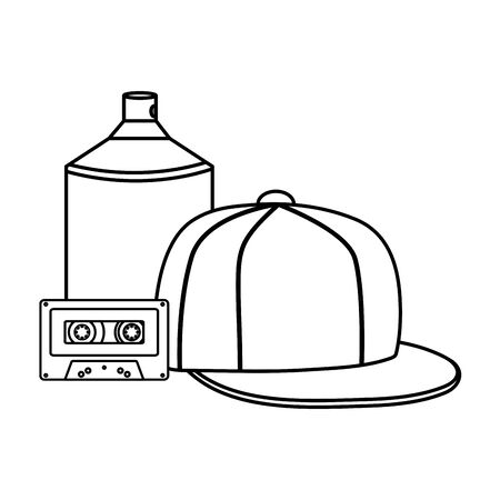 sport cap youth accessory with cassette and spray paint vector illustration design Vettoriali