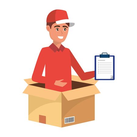 delivery service worker man cartoon  イラスト・ベクター素材