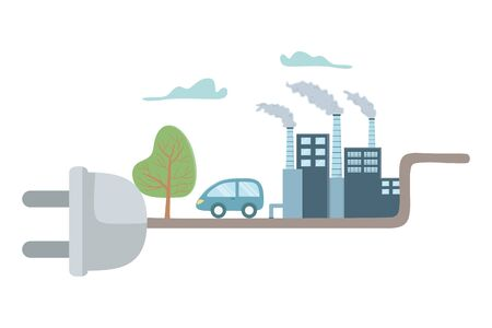Eco factory and save planet design Ilustracja