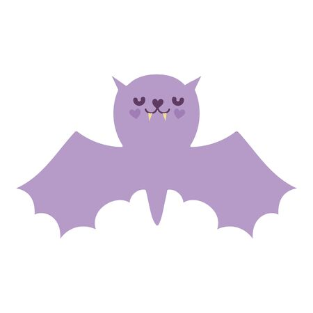happy halloween celebration purple bat with open wings vector illustration