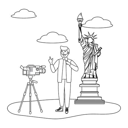 Broadcasting reportage design, News media communication journalism information and digital theme Vector illustration 版權商用圖片 - 133092067