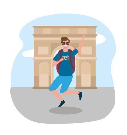 travel man wearing sunglasses and arc triomple destination Ilustracja