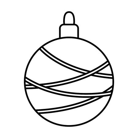 decorated ball lines celebration merry christmas thick line