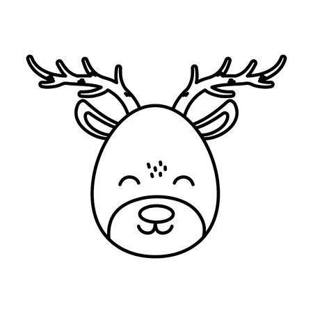 reindeer face celebration merry christmas thick line