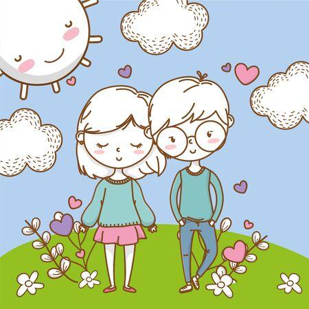 Romantic love couple cute background