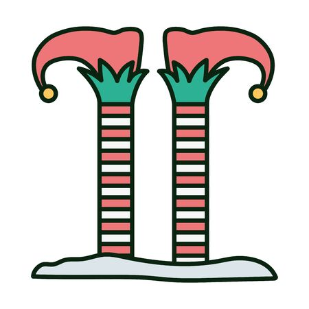 elf legs merry christmas illustration 向量圖像
