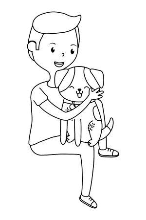 Boy with dog cartoon design Ilustrace