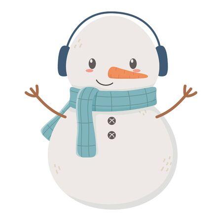 snowman with scarf earmuffs celebration merry christmas