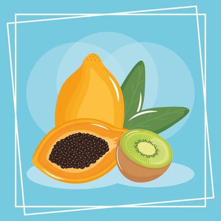 fresh kiwi and papaya exotic fruits Illustration