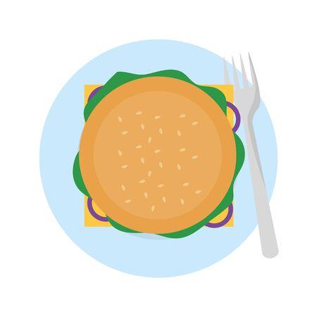Ilustrador de vector de diseño de hamburguesa aislado