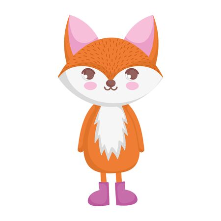 cute fox animal standing on white background