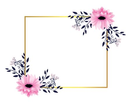 floral tropical flowers frame cartoon vector illustration graphic design