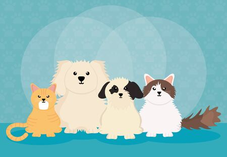 group of cute pets characters Ilustrace