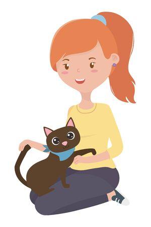 Girl with cat cartoon design