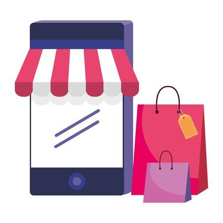 Smartphone and store icon design vector illustration Illustration