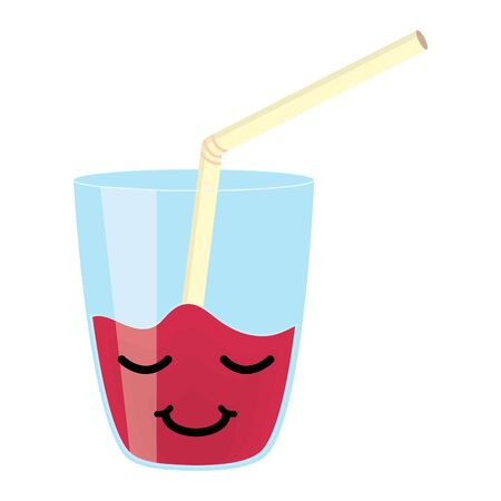 glass with juice fruit and straw character
