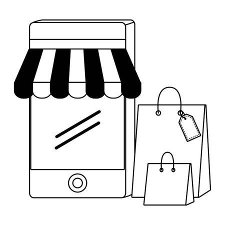 Smartphone design, Store shopping online ecommerce media market and internet theme Vector illustration
