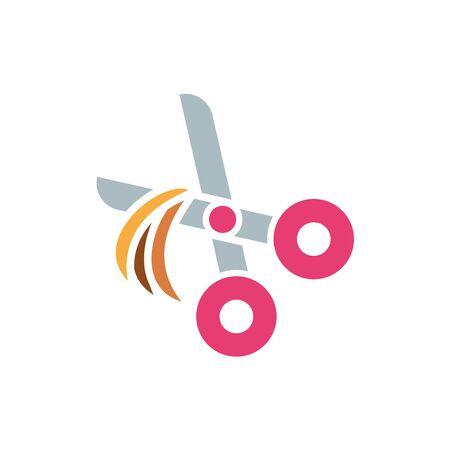 Pet scissor icon design, Veterinary mascot domestic animal friendship care and lifestyle theme Vector illustration  イラスト・ベクター素材