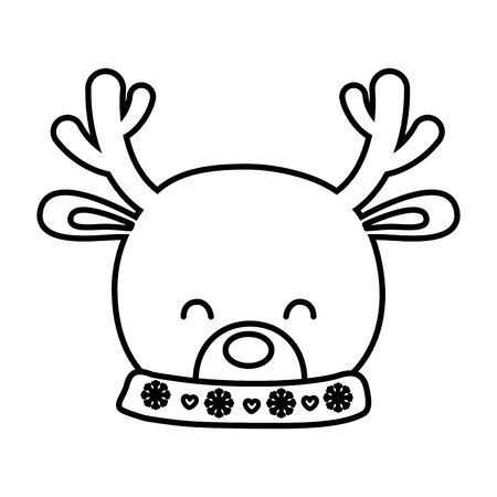 reindeer head horns decoration merry christmas vector illustration line style