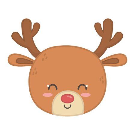 reindeer head horns decoration merry christmas Stock Illustratie
