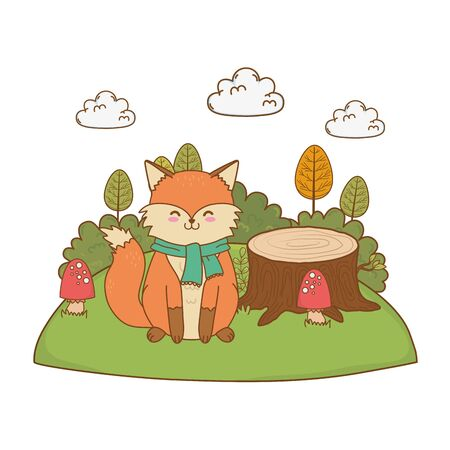 cute fox in the field woodland character