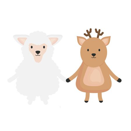 cute sheep and reindeer childish vector illustration design Stock Vector - 133123973