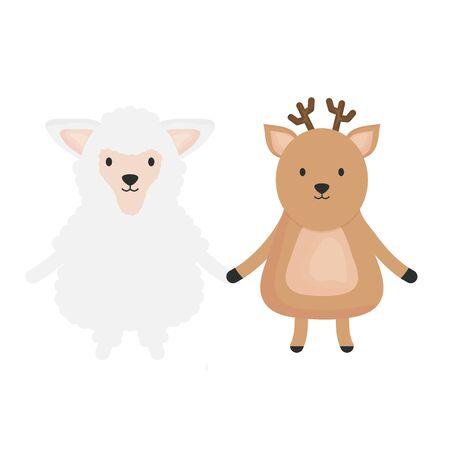 cute sheep and reindeer childish vector illustration design