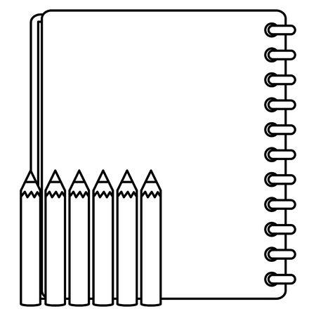 notebook school supply with colors pencils 版權商用圖片 - 133362827