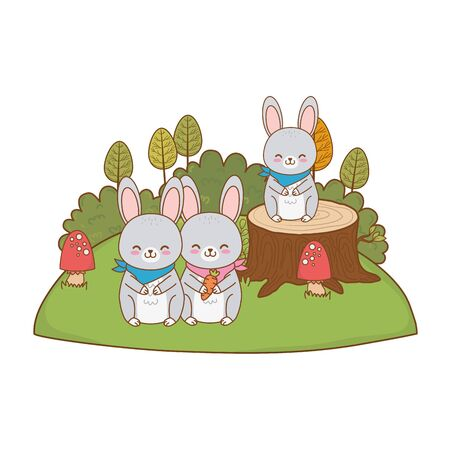 cute rabbits in the field woodland characters