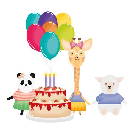 cute sheep and giraffe with panda in birthday party vector illustration design