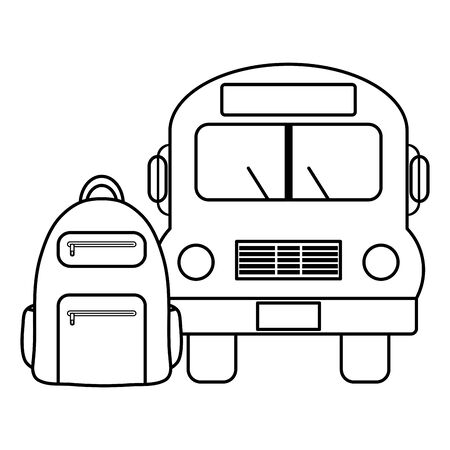 bus school vehicle with schoolbag Stock Vector - 133362850