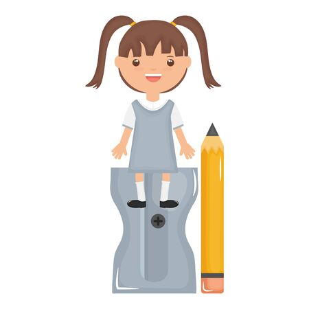 cute little student girl with sharpener and pencil