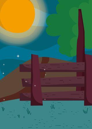 night moon fence tree landscape Zdjęcie Seryjne - 133362890