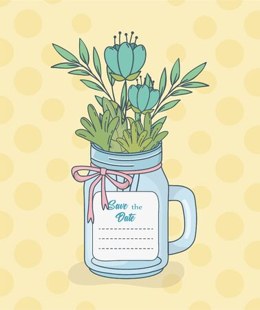 jar with floral decorations and save date card Illustration