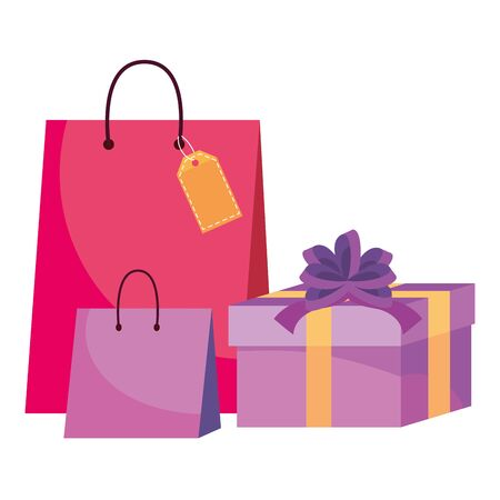 Shopping bag and gift icons vector illustration