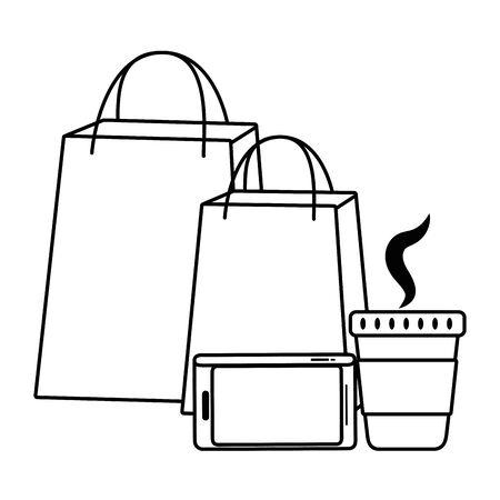 Shopping bag smartphone and coffee mug icon Illustration