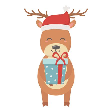 reindeer with hat and gift box celebration merry christmas