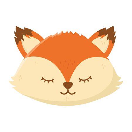cute fox head autumn on white background Ilustração